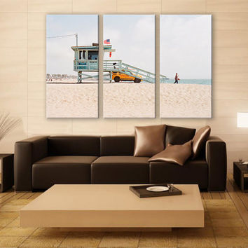 Lifeguard Tower Miami Beach Sand Canvas Print 3 Panels Print Wall Decor Fine Art Photography Repro Print for Home and Office Wall Decoration