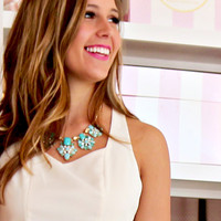 Path To Success Mint Glam Statement Necklace