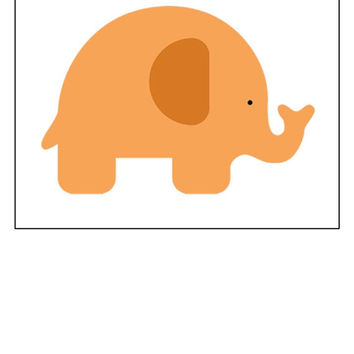 Instant Download, Elephant, Baby Room Decor, Cross Stitch, PDF Pattern, Cross Stitch Pattern, Orange Elephant