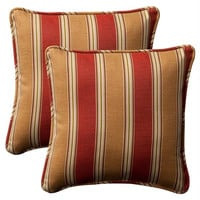 2 Red And Khaki Throw Pillows - Mildew, Weather And Fade Resistant