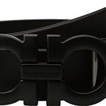 Salvatore Ferragamo  Men's Adjustable Tonal Gancini Belt - 679673 Black 44