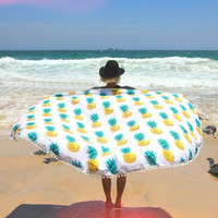 Bohemian Pineapple Round Towel Beach Printed Sunbath Towel Beach Yoga Mat Rug Kimono Cover Up