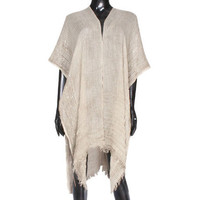 Beige Sequin detail frayed edge shawl cover up kimono cardigan - High Quality