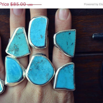 ON SALE Lux Divine /// Turquoise Electroformed Gemstone Rings /// Silver