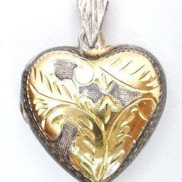 Sterling Silver Gold Heart Shaped Locket Puffed Etched Pendant Vintage
