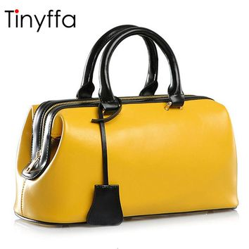 Tinyffa Summer Luxury Handbags Women Bags Designer Famous Brands Genuine Leather Bag Female Tote Doctor bag Yellow Big Hand Bag