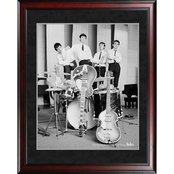 ICIKU7Q The Beatles 1962 Black and White Pose With Instruments 8x10 Framed Photo