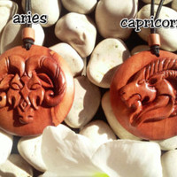 Zodiac wood pendant, Aries, Capricorn, Cancer, Scorpio, Taurus, Leo, wood necklaces, zodiac wood necklaces, hand carved pendant