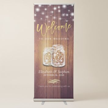 Rustic Wood Elegant Mason Jar String Light Wedding Retractable Banner
