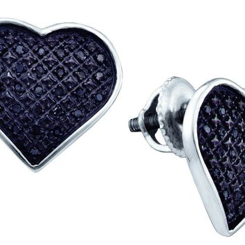 Sterling Silver Black Colored Diamond Womens Heart Cluster Screwback Stud Earrings 1/4 Cttw