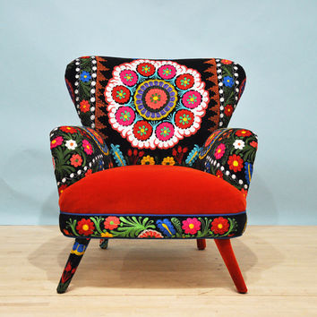 Suzani armchair - orange sun