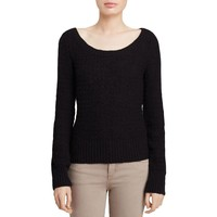 Free People Womens Textured Open Back Pullover Sweater