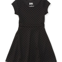 PS from Aero  Girls Flocked Dot Skater Dress - Black,