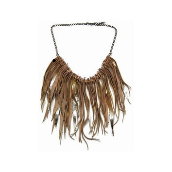 MASLINDA DESIGNS Gypset Golden Leather Fringe and Chain Necklace
