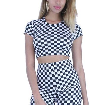 Sexy Racer Girl Cap Sleeve Crop Top with High Waist Shorts Outfit Set