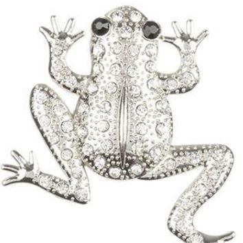 Pave Crystal Stone Metal Frog Pin And Brooch 35