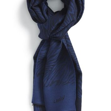 Men's Lanvin Zebra Pattern Wool Scarf - Blue