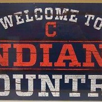 "CLEVELAND INDIANS WELCOME TO INDIANS COUNTRY WOOD SIGN 13""X24'' NEW WINCRAFT"