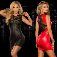 Women's clothing  paint sexy queen dress lace tights PU stitching sleeveless dress dance club Stage bars play a straitjacket