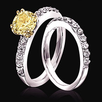 Sparkling 2.51 carat yellow canary & white diamonds wedding ring band new