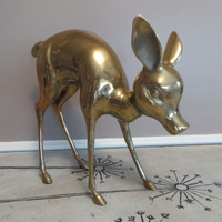 Large Brass Doe Deer Vintage Brass Doe Woodland Deer Woodland Decor Brass Figurine Brass Animal Gold Deer Gold Decor