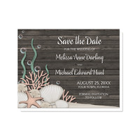 Save the Date Cards - Rustic Beach Seashells and Wood