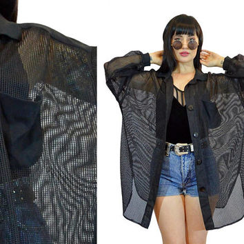 vintage 90s sheer fishnet jacket oversized slouchy black sheer mesh duster jacket soft grunge gothic cyber grunge industrial raver XL