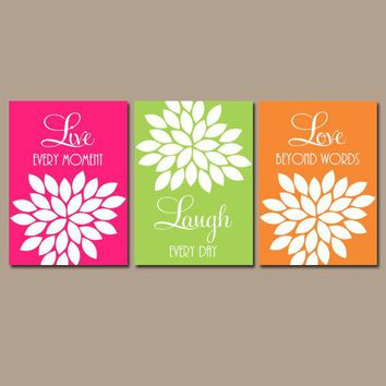 Live Laugh Love Wall Art, Baby Girl Nursery Wall Art, Girl Bedroom Decor  Pink Lime Orange CANVAS or Prints Girl Nursery Pictures, Set of 3