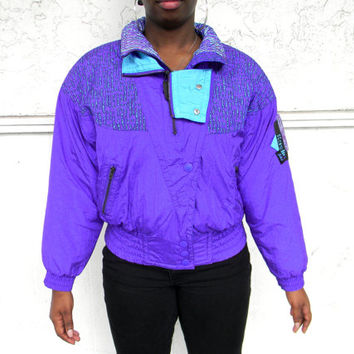 Vintage Ski Jacket - 90s Periwinkle Blue, Turquoise, and Black COLOR BLOCK Puffer Skiwear Jacket by Kaelin Ski - Tribal Print -Size Medium M