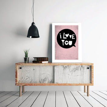 PRINT - valentines -  I Love You, hearts, Pink Black Quote Abstract poster, Minimal Poster Modern Poster Print Modern Art.