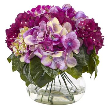Silk Flowers -Multi-Tone Blue Hydrangea With Vase Artificial Plant
