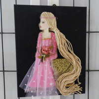 Princess Art- Rapunzel Collage- Mixed Media Painting- Girls Room Decor- 11X14 inches