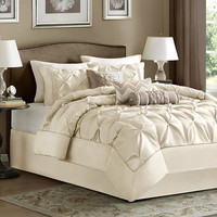 Laurel 7 Piece Ivory Comforter Set