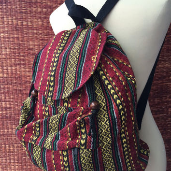Backpack Tribal Boho Ethnic southwestern Hill tribe Styles Hmong Woven fabric Ethnic ikat design Overnight travel bag Hippies folk in red