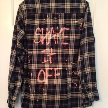 "Plaid flannel ""Shake It Off"" hand bleached shirt // soft grunge"