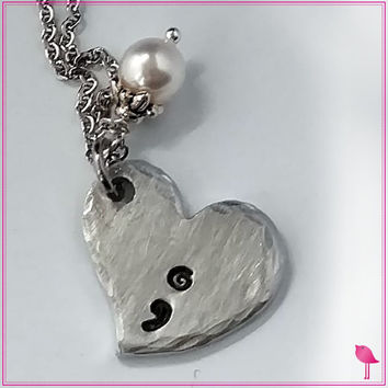 Semicolon Heart Bling Chicks Necklace