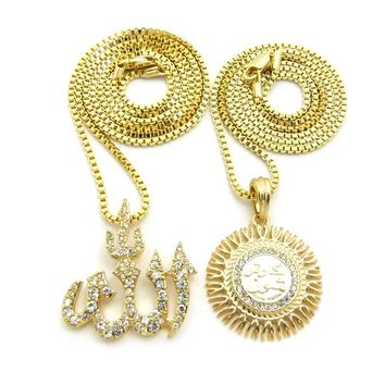 Gold Allah God Islam Muslim Arab Arabic Pendant Charm Chain Necklace Jewelry Set