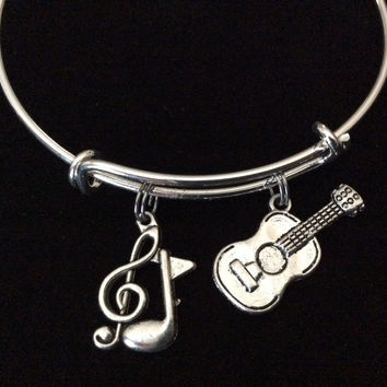 Guitar Charm Expandable Bracelet Adjustable Wire Bangle Gift Trendy Musician Music teacher Notes Handmade Inspired