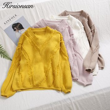Hirsionsan Winter Autumn Women Sweaters and Pullovers V-neck Casual Tassels Sweater Solid Knitted Loose Jumpers Sweter Mujer
