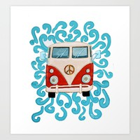 Peace Camper Van Art Print by Ali Deegan Designs