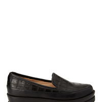 FOREVER 21 Embossed Flatform Loafers Black
