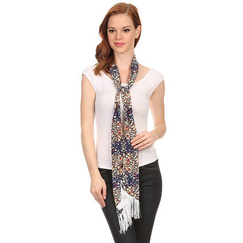 Ladies Floral Navy Skinny Scarf Sash with Fringe.
