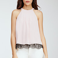Eyelash Lace-Trimmed Halter Top