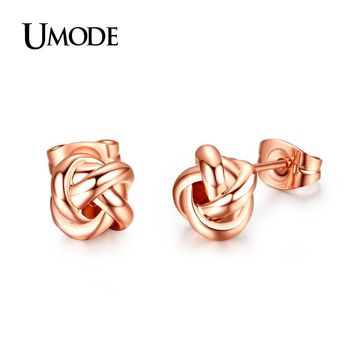 Rose Gold Color Classic Love Knot Post Stud Earrings