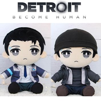 Detroit: Become Human DBH Connor RK800 Plush Stuffed Pillow Doll Cushion Plushie Toy Dress Up Clothes Hat Cute Gift Game Cosplay