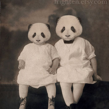Panda Art  Altered Vintage Photograph of Sisters  by frighten