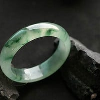 Free Shipping - A Grade Natural Green jadeite jade bangle /   Green Jadeite Jade charm Round Bangle - custom size  ( diameter 54mm-60mm)