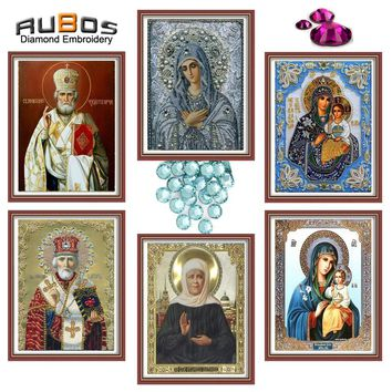 RUBOS Partial Area diamond embroidery religions mother Mary of Jesus Icons DIY 5D diamond painting 3D round crystal face print
