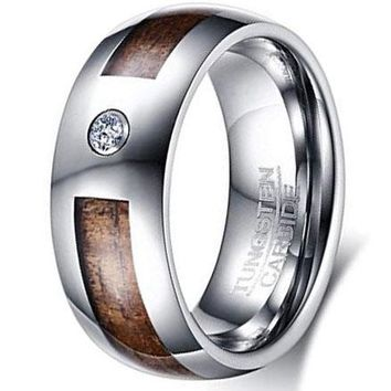 CERTIFIED  8mm Tungsten Carbide Koa Wood Inlay Cubic Zirconia Men's Wedding Band