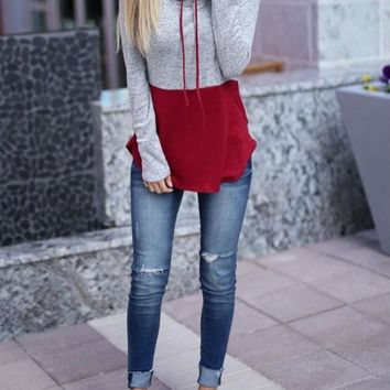 New Grey-Red Patchwork Drawstring Cowl Neck Long Sleeve Casual Pullover Sweatshirt